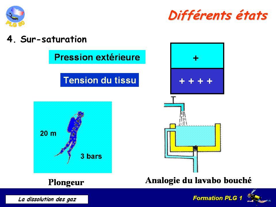 Formation PLG 1 La dissolution des gaz Différents états 4. Sur-saturation