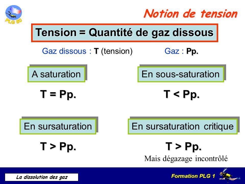 Formation PLG 1 La dissolution des gaz Notion de tension Tension = Quantité de gaz dissous T Pp. Gaz dissous : T (tension) Gaz : Pp. A saturation A sa