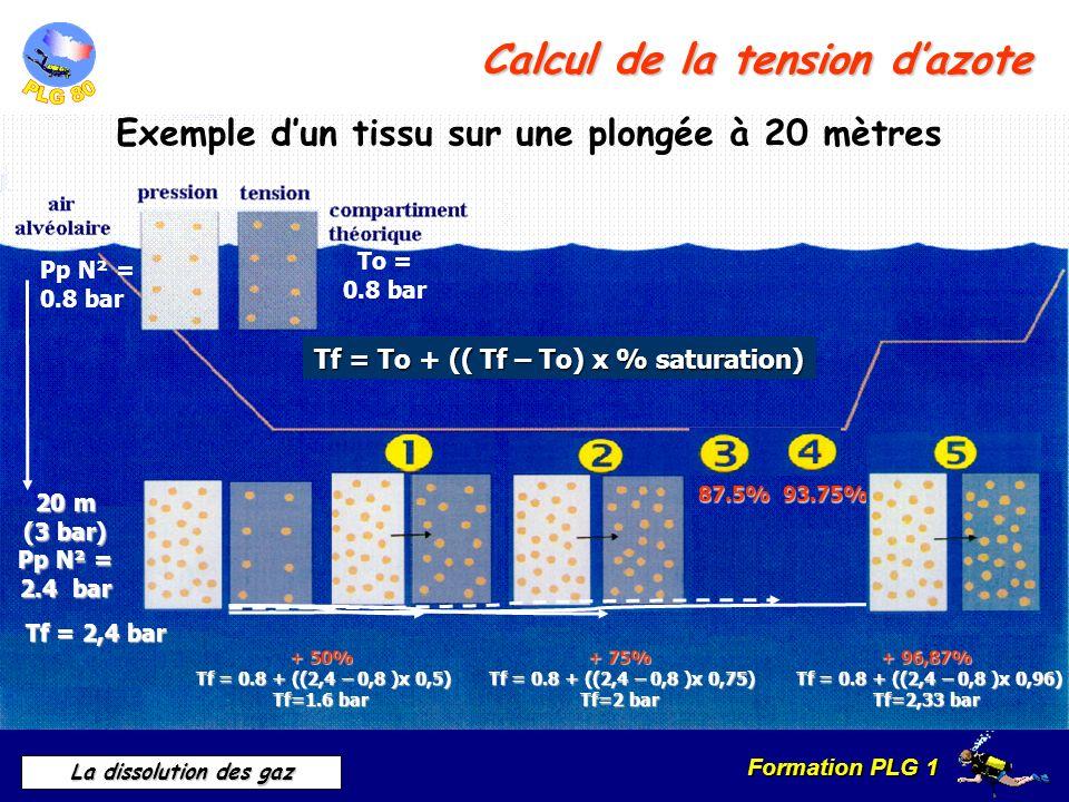 Formation PLG 1 La dissolution des gaz Calcul de la tension dazote Exemple dun tissu sur une plongée à 20 mètres Pp N² = 0.8 bar To = 0.8 bar Tf = To