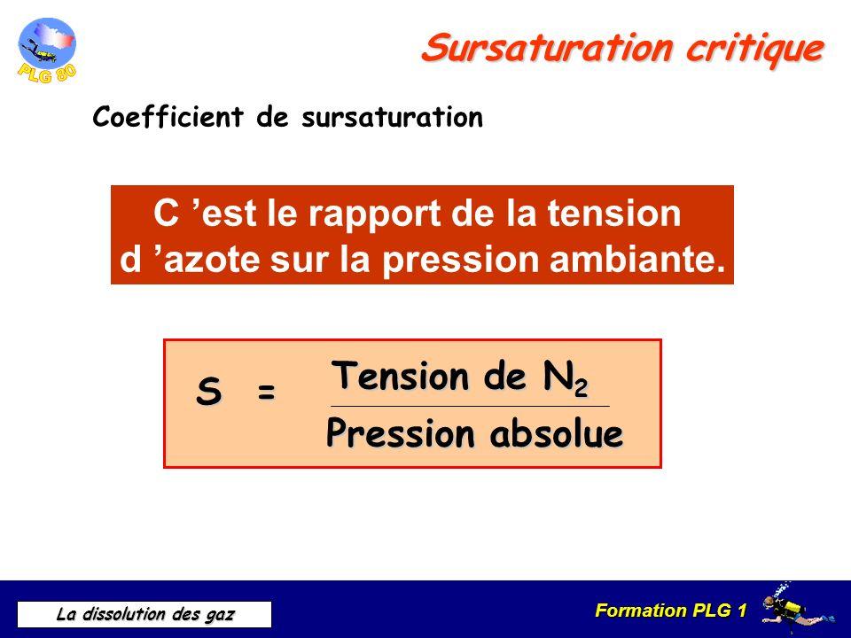 Formation PLG 1 La dissolution des gaz Sursaturation critique Coefficient de sursaturation C est le rapport de la tension d azote sur la pression ambi