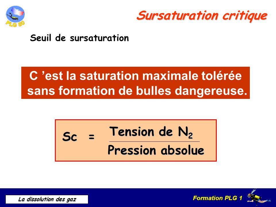 Formation PLG 1 La dissolution des gaz Sursaturation critique Seuil de sursaturation C est la saturation maximale tolérée sans formation de bulles dan