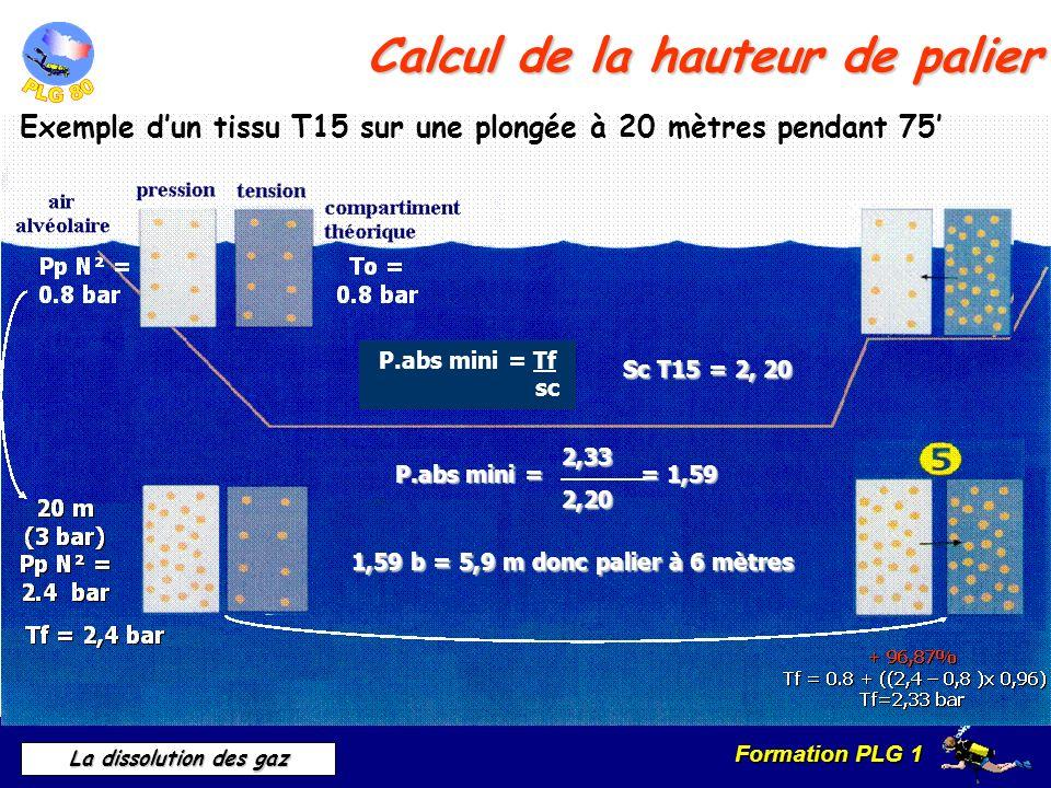 Formation PLG 1 La dissolution des gaz Calcul de la hauteur de palier Exemple dun tissu T15 sur une plongée à 20 mètres pendant 75 P.abs mini = Tf sc