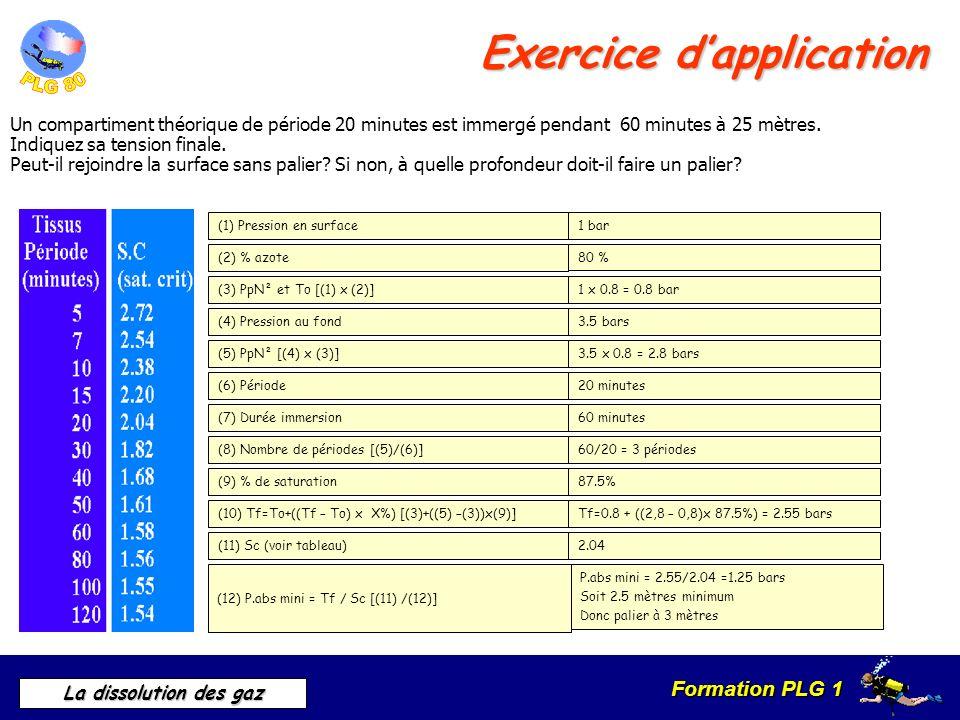 Formation PLG 1 La dissolution des gaz Exercice dapplication Un compartiment théorique de période 20 minutes est immergé pendant 60 minutes à 25 mètre