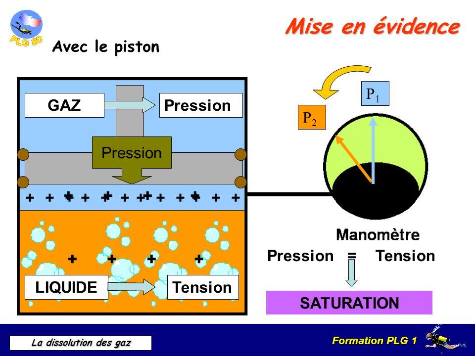 Formation PLG 1 La dissolution des gaz Mise en évidence Avec le piston GAZ P1P1 P2P2 Pression Pression =Tension SATURATION ++++++++++++ ++++ ++++ LIQU