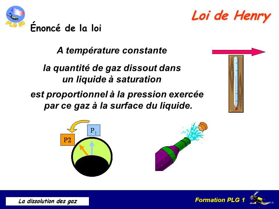Formation PLG 1 La dissolution des gaz Loi de Henry Énoncé de la loi A température constante la quantité de gaz dissout dans un liquide à saturation e