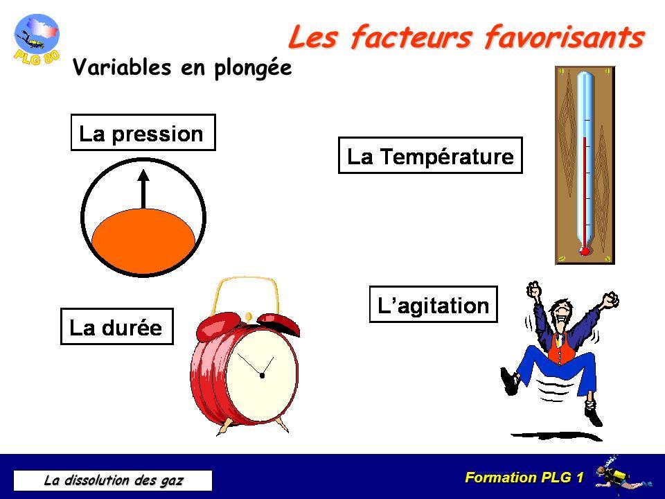 Formation PLG 1 La dissolution des gaz Les facteurs favorisants Variables en plongée
