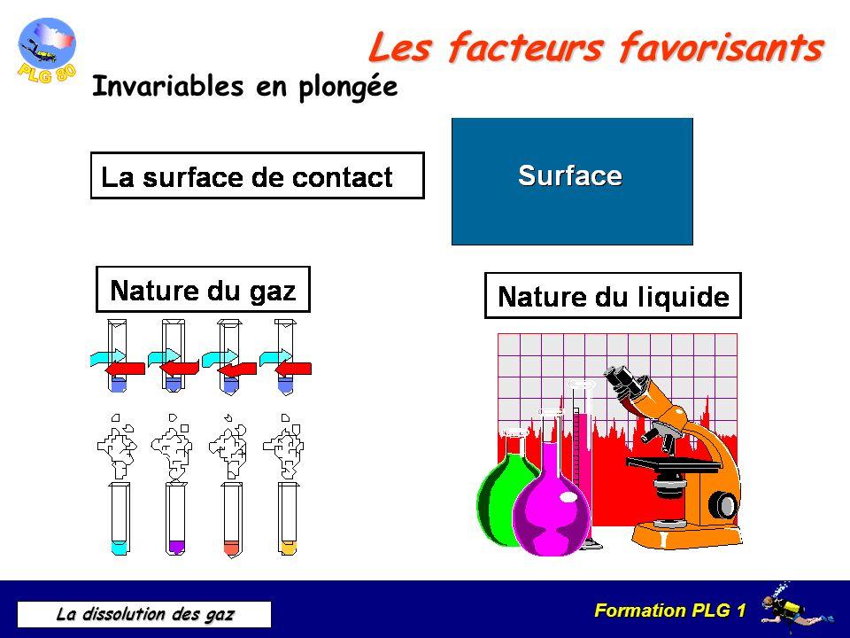 Formation PLG 1 La dissolution des gaz Les facteurs favorisants Invariables en plongée