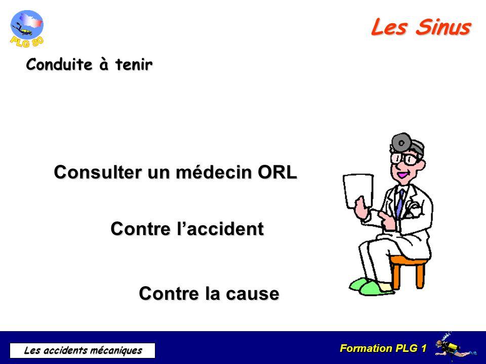Formation PLG 1 Les accidents mécaniques Les Sinus Conduite à tenir Consulter un médecin ORL Contre laccident Contre la cause
