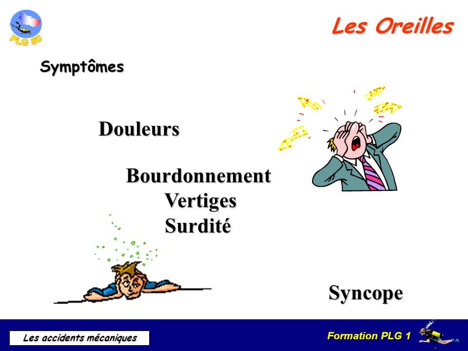 Formation PLG 1 Les accidents mécaniques Les Oreilles Symptômes Douleurs Bourdonnement Vertiges Surdité Syncope