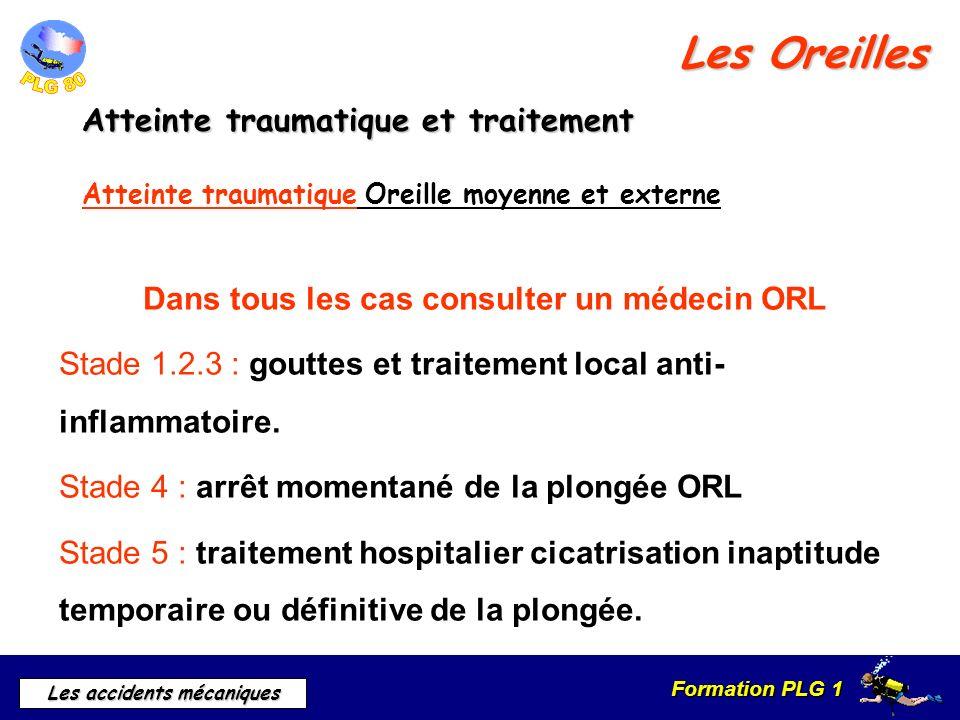 Formation PLG 1 Les accidents mécaniques Les Oreilles Dans tous les cas consulter un médecin ORL Stade 1.2.3 : gouttes et traitement local anti- infla