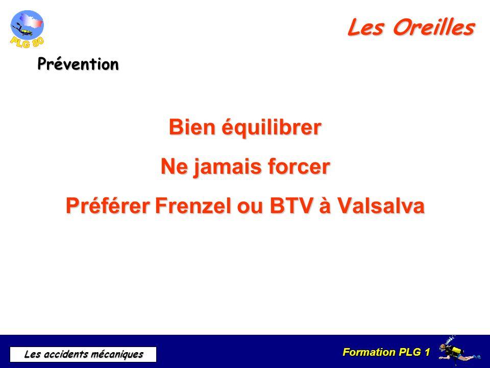 Formation PLG 1 Les accidents mécaniques Les Oreilles Prévention Bien équilibrer Ne jamais forcer Préférer Frenzel ou BTV à Valsalva