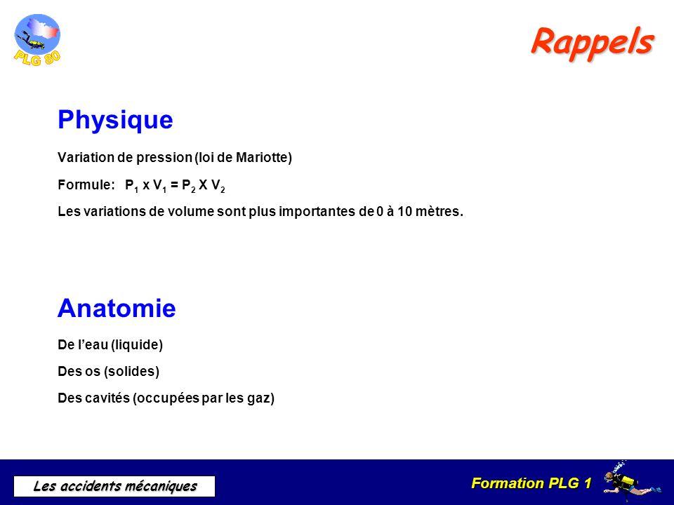 Formation PLG 1 Les accidents mécaniques Rappels Physique Variation de pression (loi de Mariotte) Formule:P 1 x V 1 = P 2 X V 2 Les variations de volu