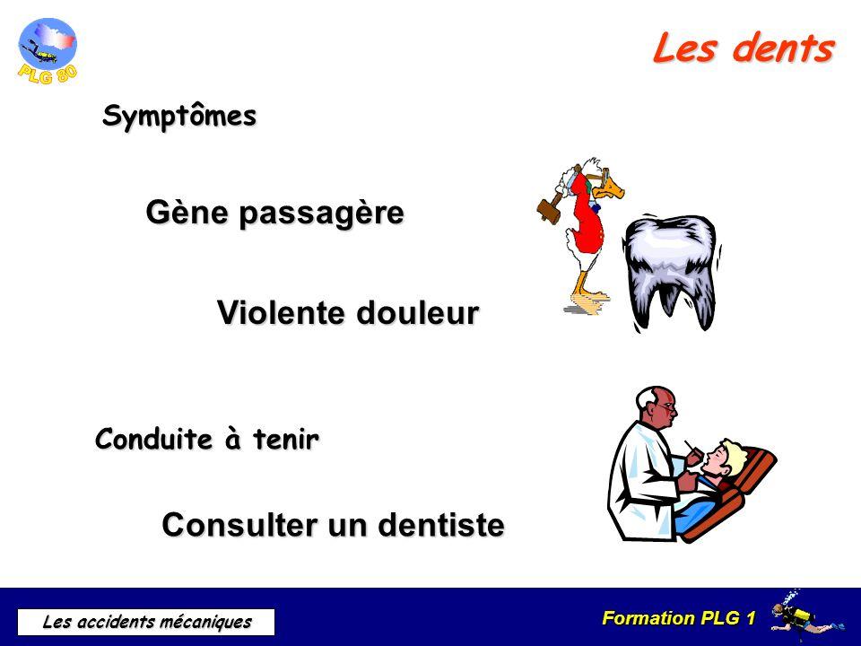 Formation PLG 1 Les accidents mécaniques Les dents Symptômes Conduite à tenir Gène passagère Consulter un dentiste Violente douleur