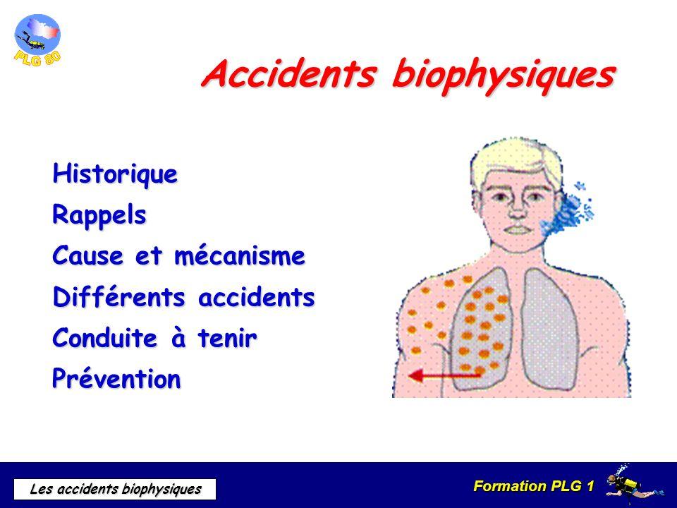 Formation PLG 1 Les accidents biophysiques Les accidents cérébraux Le signe principale est lasthénie (grande fatigue) Nausées Vomissements Hémiplégie ou quadriplégie flasque Cécité Aphasie Crises convulsives Troubles ventilatoires circulatoires VARIABLE EN FONCTION DE LA GRAVITE Signes