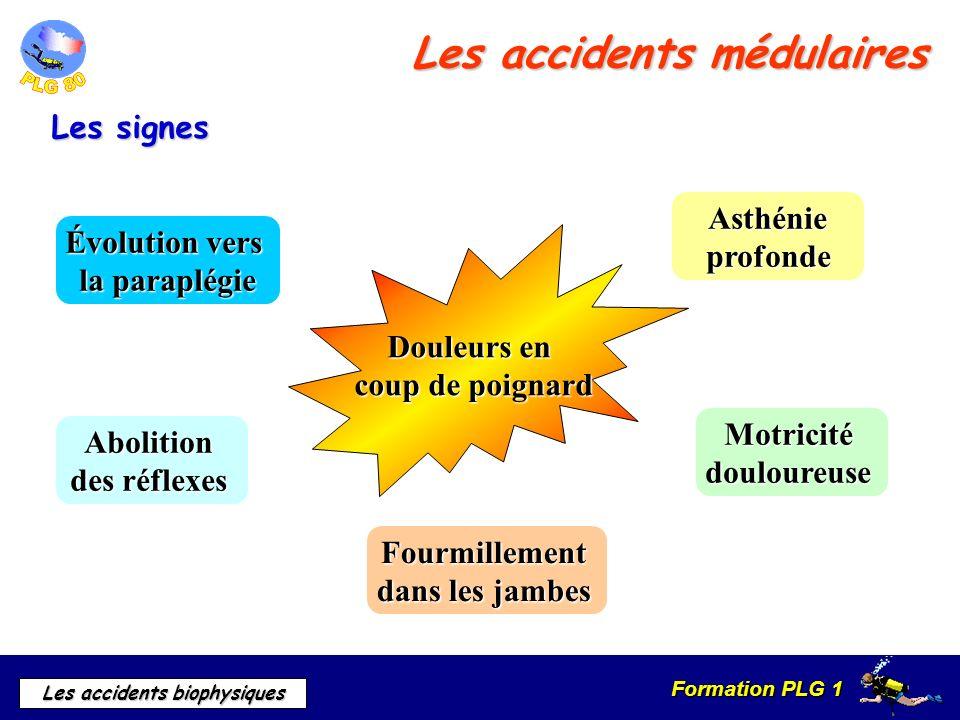 Formation PLG 1 Les accidents biophysiques Les accidents médulaires Douleurs en coup de poignard Asthénie profonde Motricitédouloureuse Fourmillement