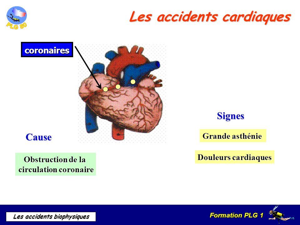 Formation PLG 1 Les accidents biophysiques Douleurs cardiaques Grande asthénie Cause Cause Signes Signes Obstruction de la circulation coronaire coron