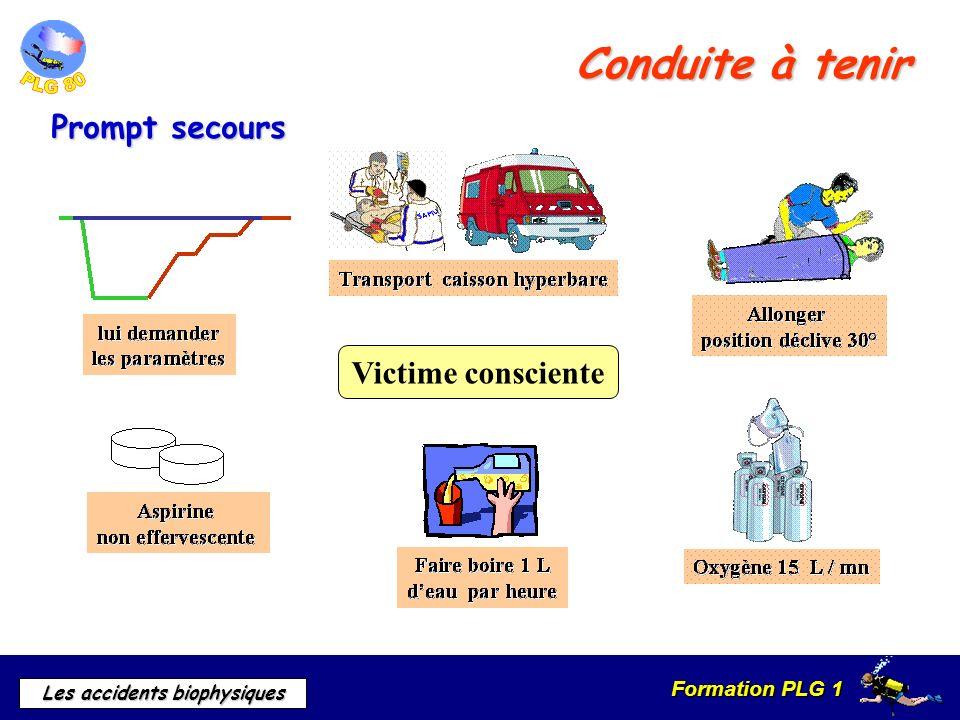 Formation PLG 1 Les accidents biophysiques Conduite à tenir Victime consciente Prompt secours