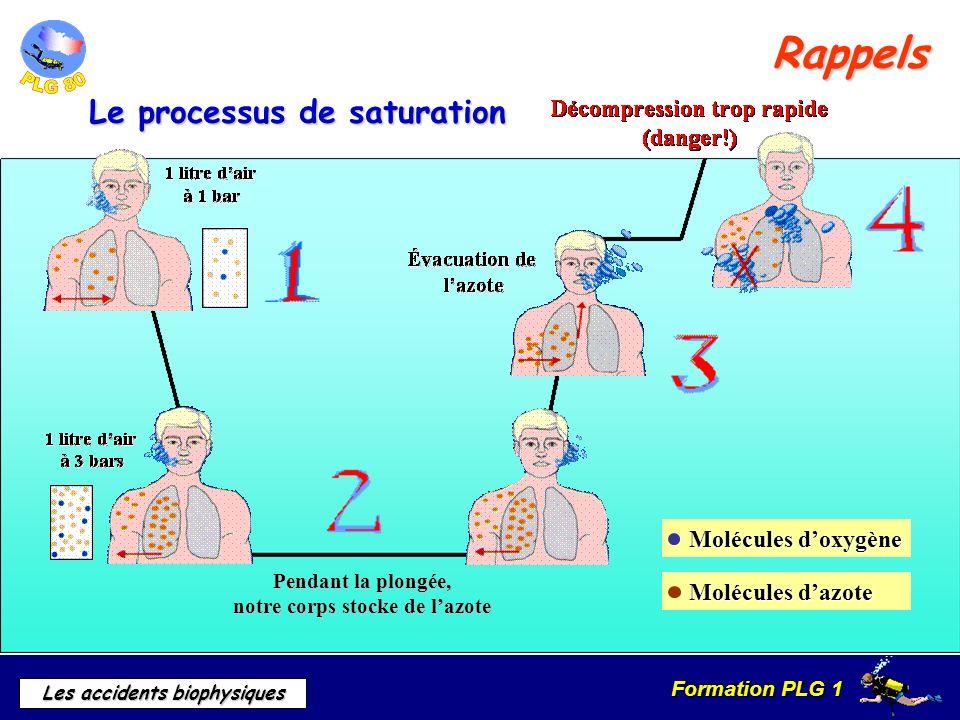 Formation PLG 1 Les accidents biophysiques Ne pas confondre avec surpression pulmonaire Douleurs thoraciques « CHOKES » Grande asthénie Dyspnée Parfois toux et cyanose Cause Cause Signes Signes Hypertension artérielle pulmonaire Les accidents pulmonaires
