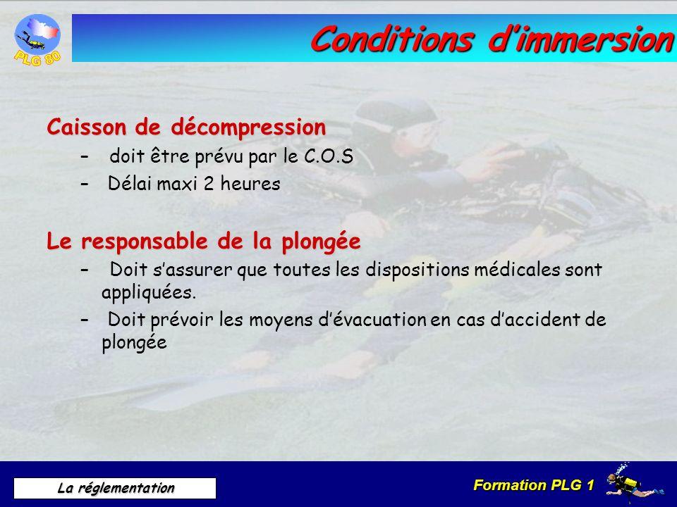 Formation PLG 1 La réglementation Conditions dimmersion Caisson de décompression – doit être prévu par le C.O.S – Délai maxi 2 heures Le responsable d