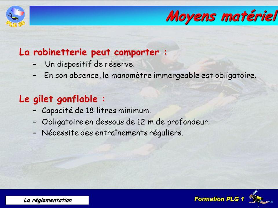 Formation PLG 1 La réglementation Moyens matériel La robinetterie peut comporter : – Un dispositif de réserve. – En son absence, le manomètre immergea