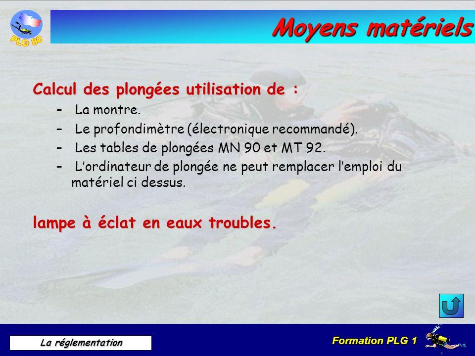 Formation PLG 1 La réglementation Moyens matériels Calcul des plongées utilisation de : – La montre. – Le profondimètre (électronique recommandé). – L