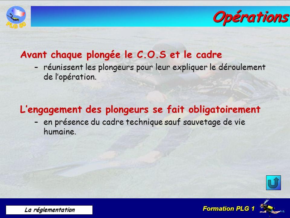 Formation PLG 1 La réglementation Opérations Avant chaque plongée le C.O.S et le cadre –réunissent les plongeurs pour leur expliquer le déroulement de