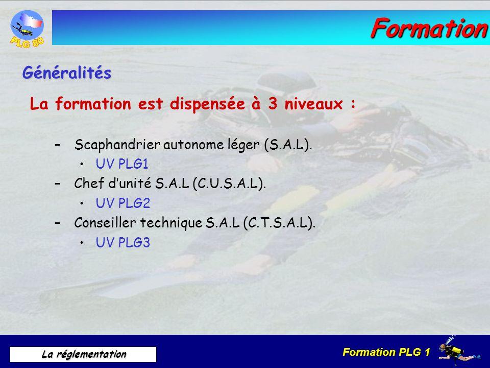 Formation PLG 1 La réglementation Formation La formation est dispensée à 3 niveaux : – Scaphandrier autonome léger (S.A.L). UV PLG1 – Chef dunité S.A.