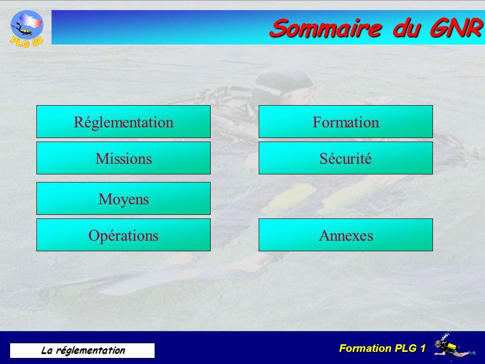 Formation PLG 1 La réglementation Sommaire du GNR Formation Opérations Moyens Réglementation MissionsSécurité Annexes
