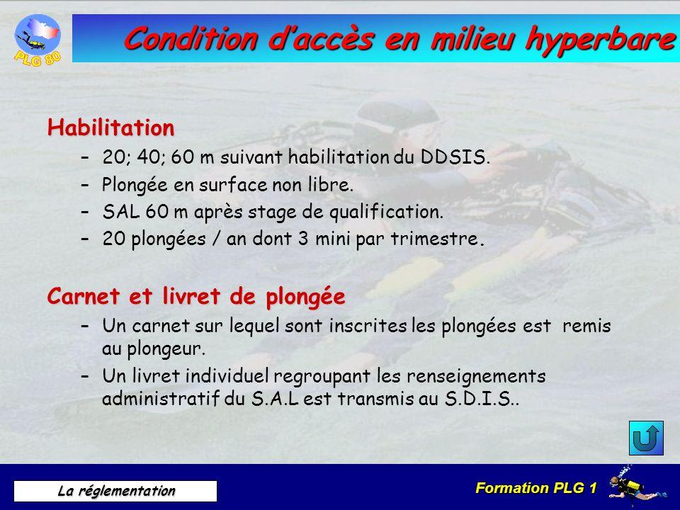 Formation PLG 1 La réglementation Condition daccès en milieu hyperbare Habilitation –20; 40; 60 m suivant habilitation du DDSIS. –Plongée en surface n