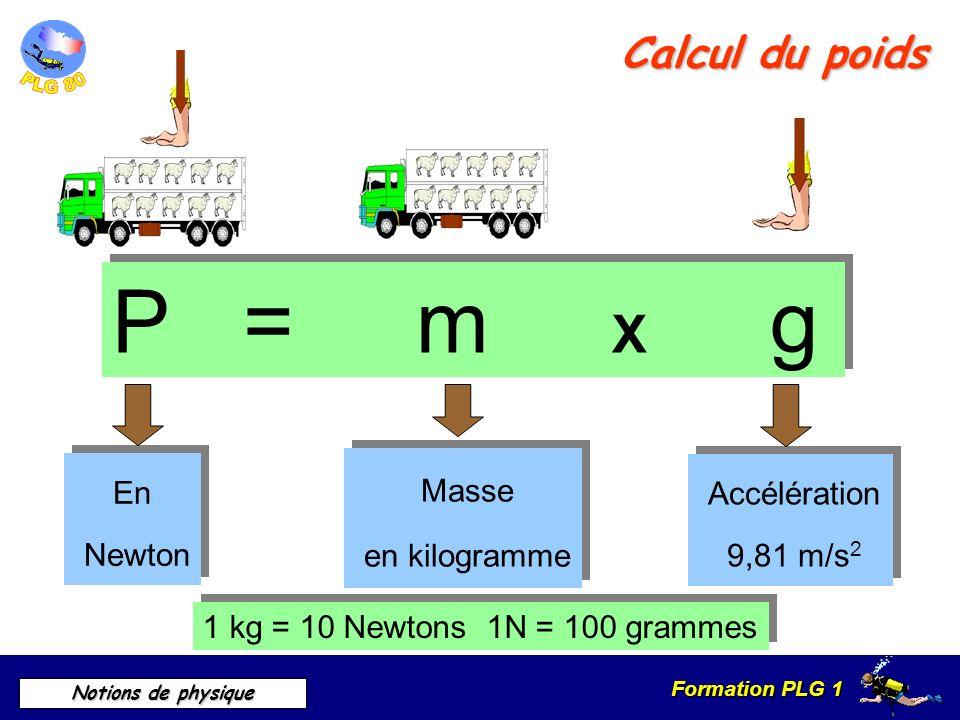 Formation PLG 1 Notions de physique Calcul du poids P = m X g 1 kg = 10 Newtons 1N = 100 grammes En Newton En Newton Masse en kilogramme Masse en kilo