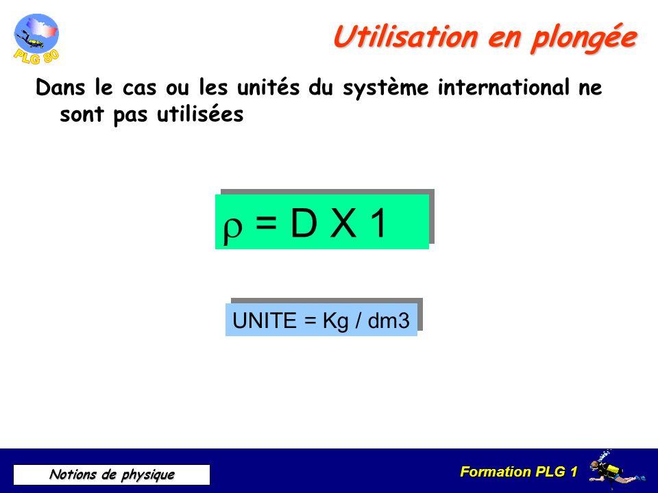Formation PLG 1 Notions de physique Utilisation en plongée Dans le cas ou les unités du système international ne sont pas utilisées = D X 1 UNITE = Kg