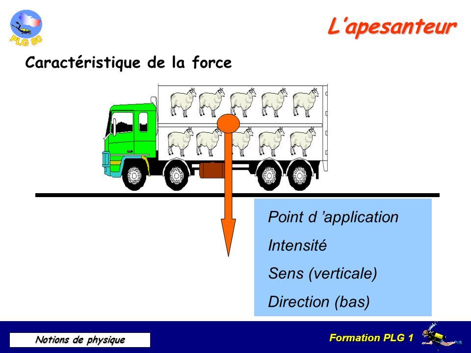 Formation PLG 1 Notions de physique Calcul du poids P = m X g 1 kg = 10 Newtons 1N = 100 grammes En Newton En Newton Masse en kilogramme Masse en kilogramme Accélération 9,81 m/s 2 Accélération 9,81 m/s 2