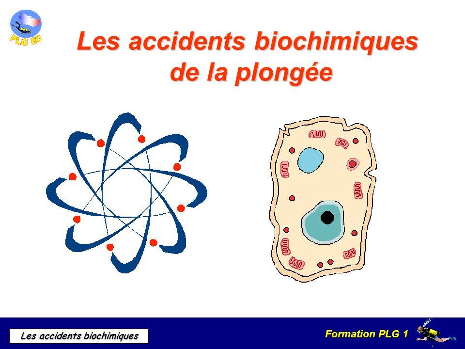 Formation PLG 1 Les accidents biochimiques Délai de tolérance en temps de latence Variable dun individu à lautre en fonction : De leffort Leffet Paul Bert Leffet Paul Bert