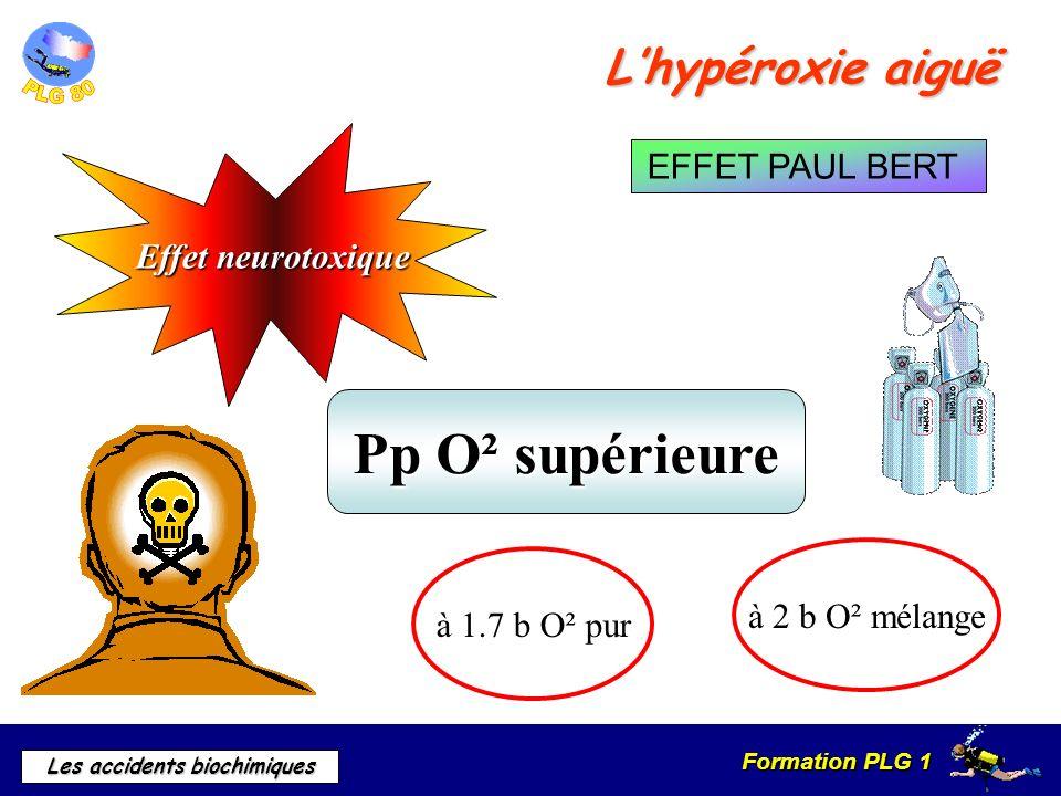 Formation PLG 1 Les accidents biochimiques Lhypéroxie aiguë Effet neurotoxique Pp O² supérieure à 2 b O² mélange à 1.7 b O² pur EFFET PAUL BERT