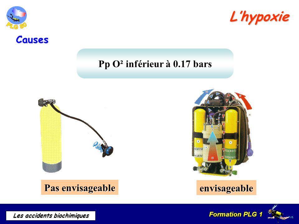 Formation PLG 1 Les accidents biochimiques Pp O² inférieur à 0.17 bars Lhypoxie Causes envisageable Pas envisageable