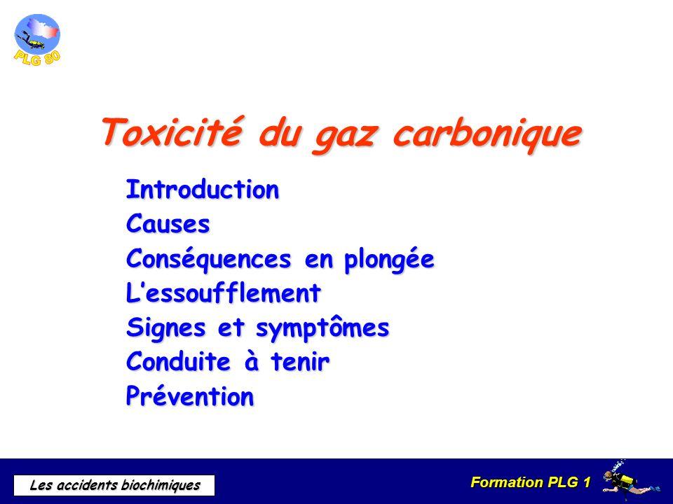 Formation PLG 1 Les accidents biochimiques Toxicité du gaz carbonique IntroductionCauses Conséquences en plongée Lessoufflement Signes et symptômes Co
