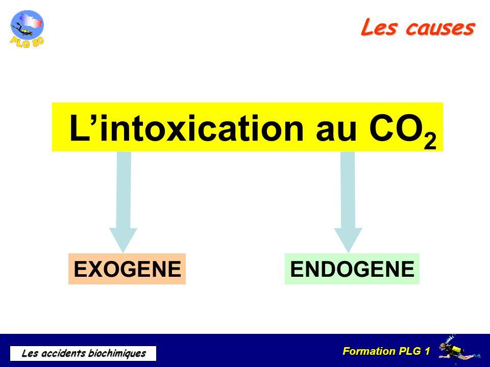 Formation PLG 1 Les accidents biochimiques Les causes EXOGENEENDOGENE Lintoxication au CO 2