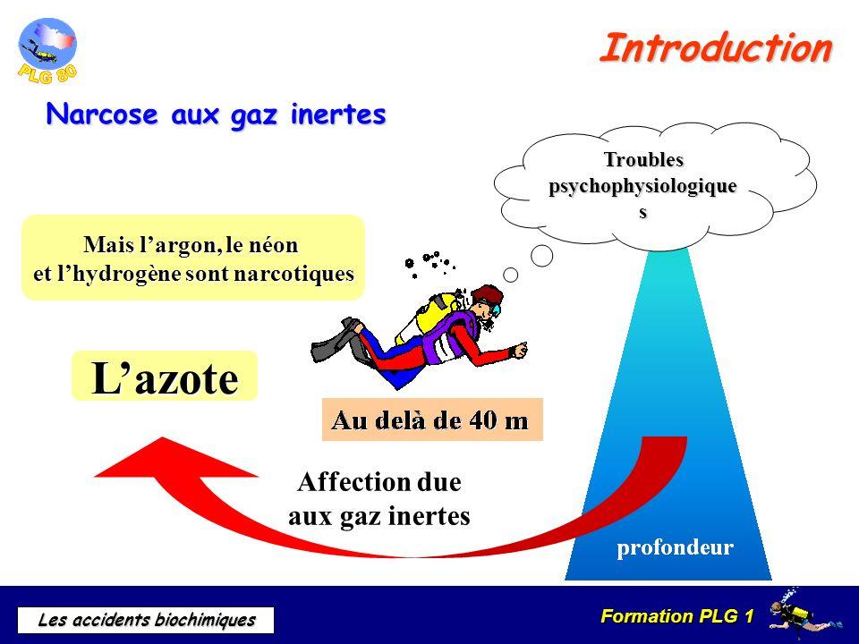 Formation PLG 1 Les accidents biochimiques Introduction Troubles psychophysiologique s Affection due aux gaz inertes Lazote Mais largon, le néon et lh