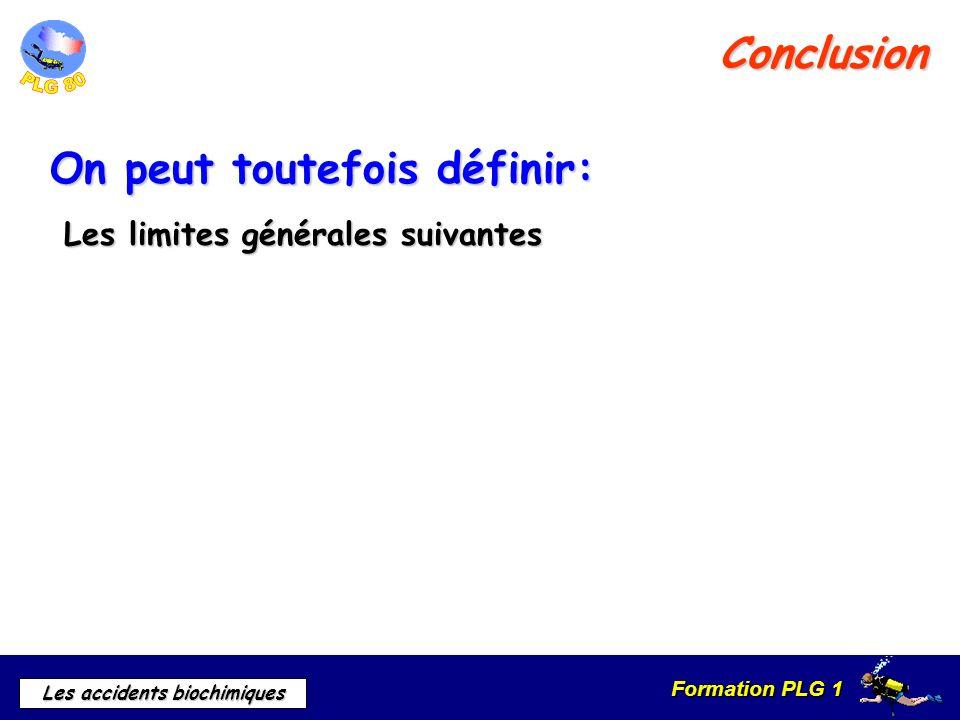 Formation PLG 1 Les accidents biochimiques Conclusion On peut toutefois définir: Les limites générales suivantes Les limites générales suivantes