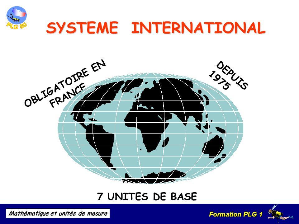Formation PLG 1 Mathématique et unités de mesure DEPUIS 1975 7 UNITES DE BASE OBLIGATOIRE EN FRANCE SYSTEME INTERNATIONAL