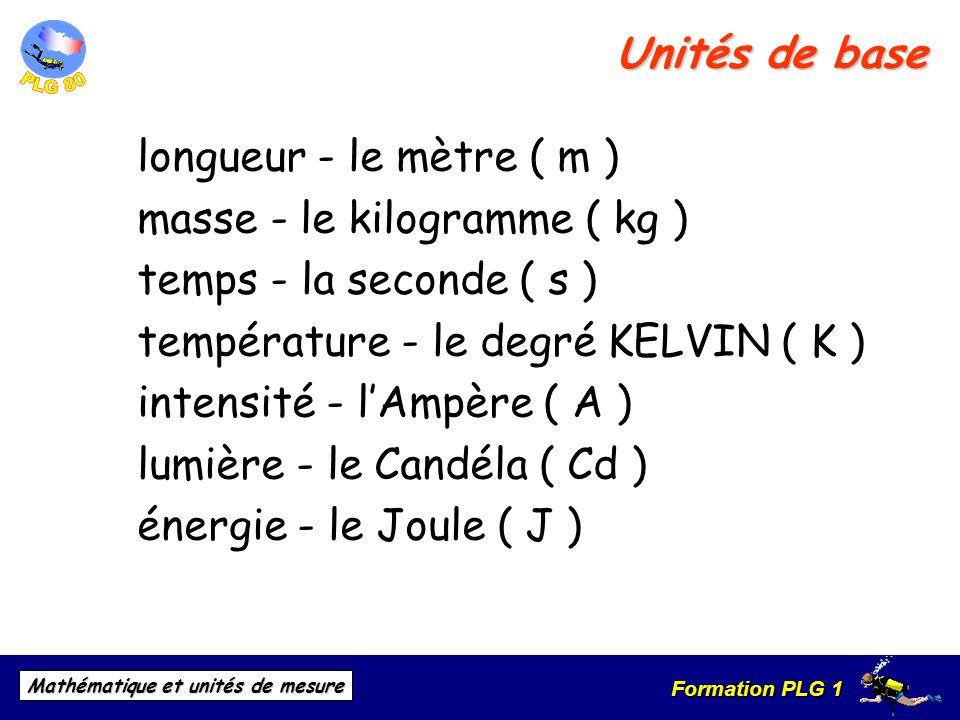 Formation PLG 1 Mathématique et unités de mesure Unités de base longueur - le mètre ( m ) masse - le kilogramme ( kg ) temps - la seconde ( s ) tempér