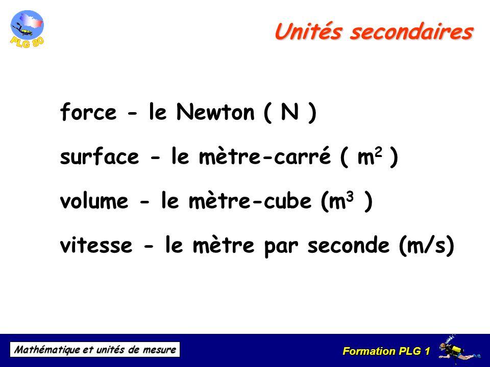 Formation PLG 1 Mathématique et unités de mesure Unités secondaires force - le Newton ( N ) surface - le mètre-carré ( m 2 ) volume - le mètre-cube (m