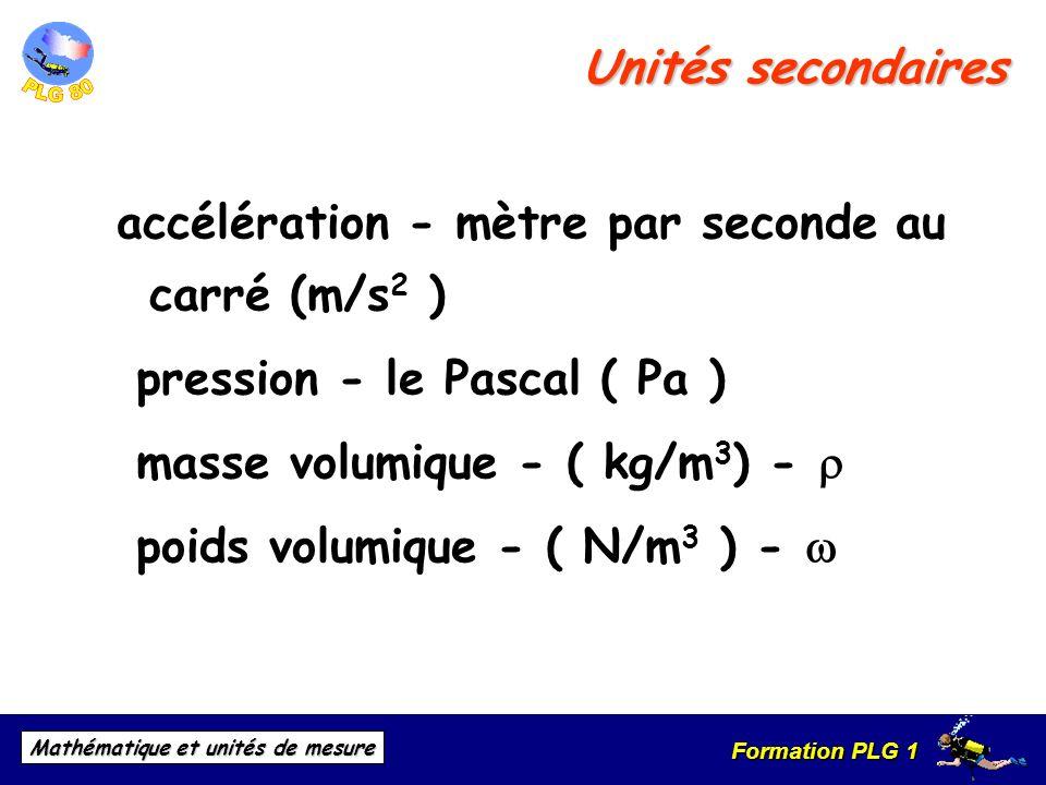 Formation PLG 1 Mathématique et unités de mesure accélération - mètre par seconde au carré (m/s 2 ) pression - le Pascal ( Pa ) masse volumique - ( kg