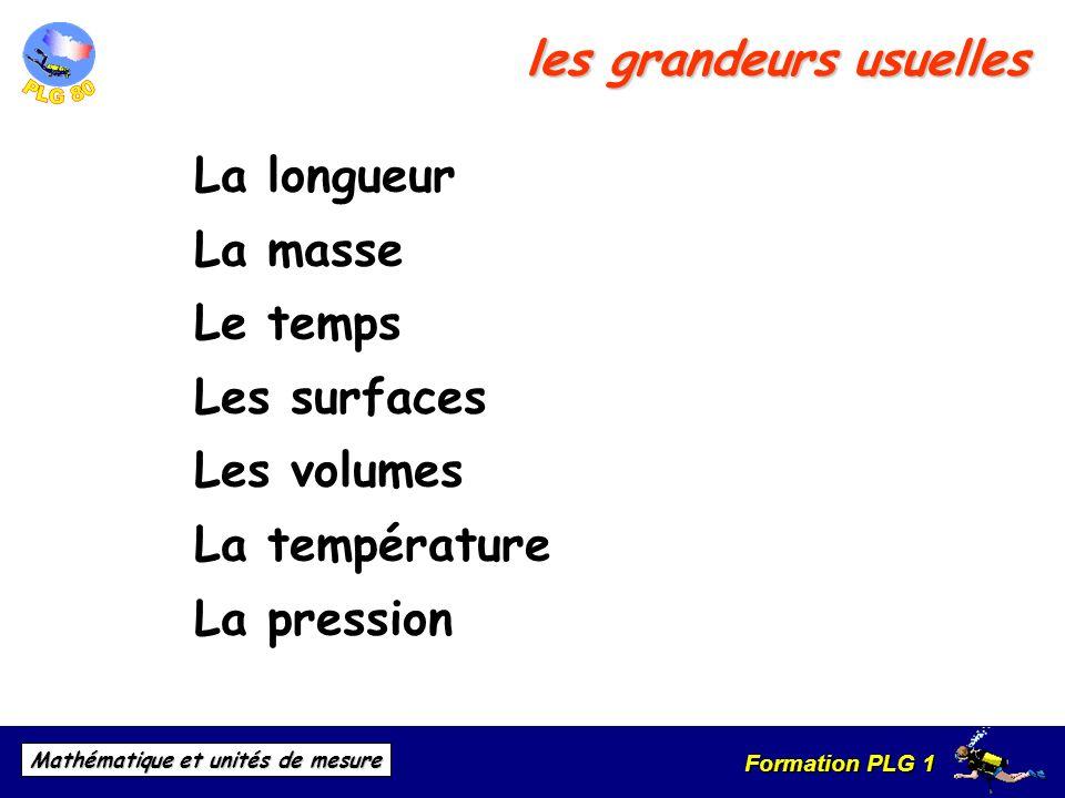 Formation PLG 1 Mathématique et unités de mesure les grandeurs usuelles La longueur La masse Le temps Les surfaces Les volumes La température La press