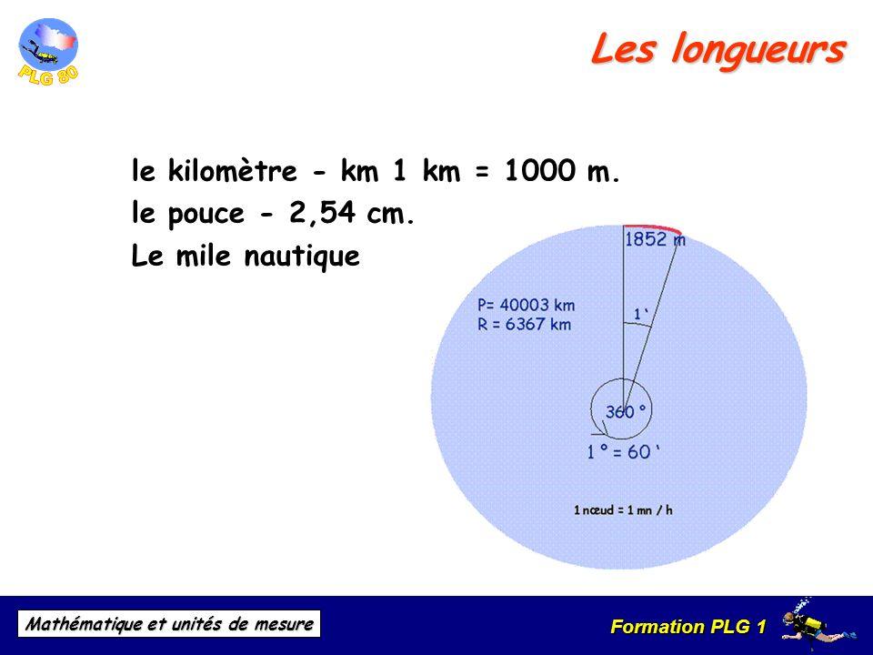 Formation PLG 1 Mathématique et unités de mesure Les longueurs le kilomètre - km 1 km = 1000 m. le pouce - 2,54 cm. Le mile nautique