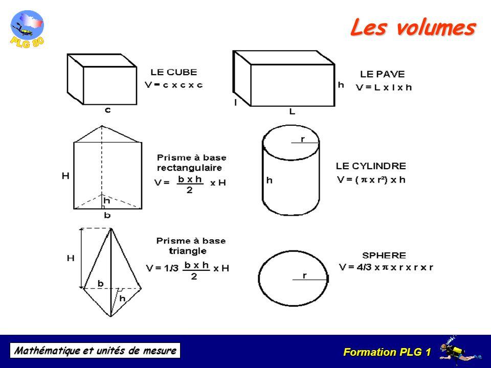 Formation PLG 1 Mathématique et unités de mesure Les volumes