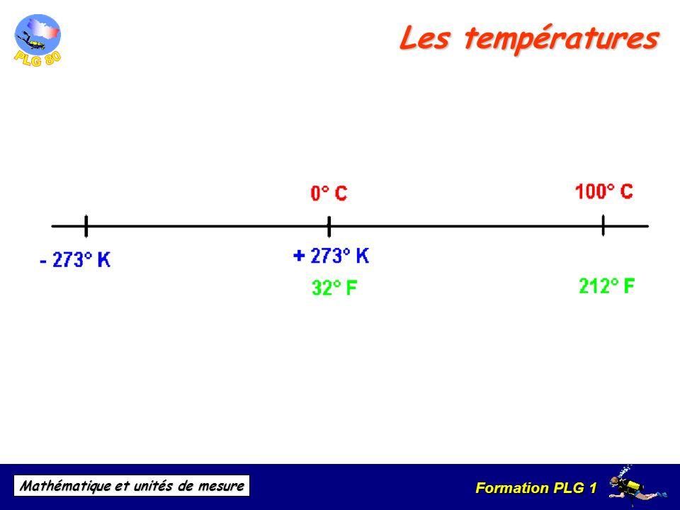 Formation PLG 1 Mathématique et unités de mesure Les températures