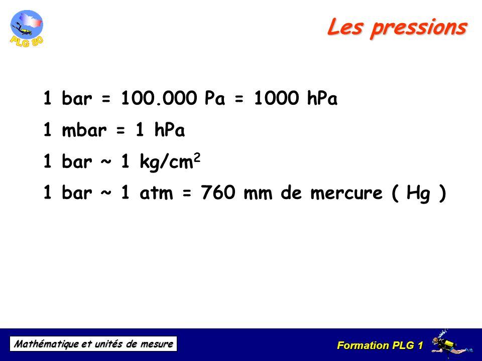 Formation PLG 1 Mathématique et unités de mesure Les pressions 1 bar = 100.000 Pa = 1000 hPa 1 mbar = 1 hPa 1 bar ~ 1 kg/cm 2 1 bar ~ 1 atm = 760 mm d