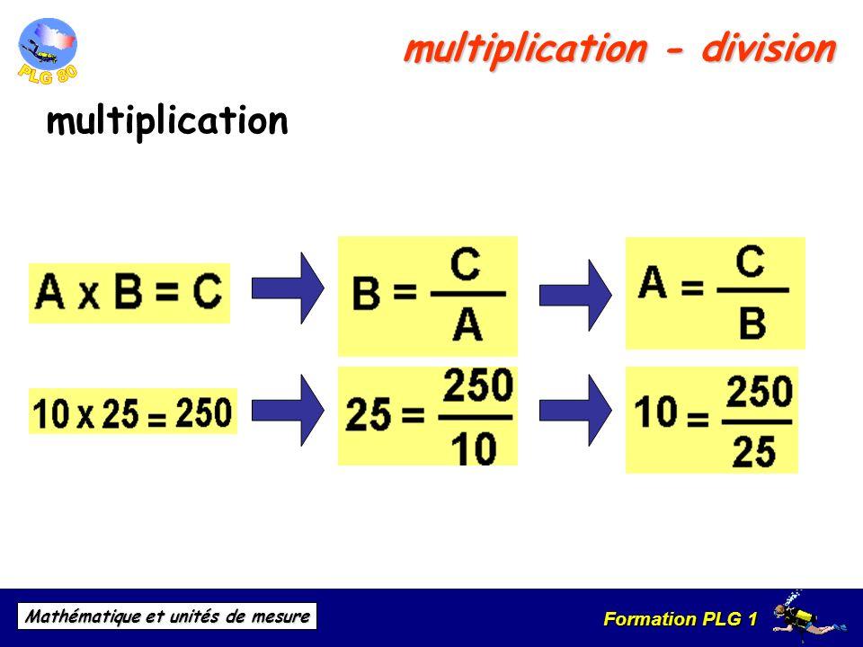 Formation PLG 1 Mathématique et unités de mesure multiplication - division multiplication