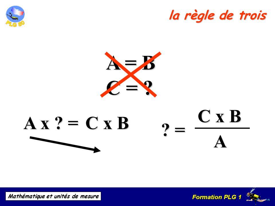 Formation PLG 1 Mathématique et unités de mesure la règle de trois A x ? = A = B ? = C = ? C x B C x B C x BA